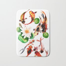 Koi Fish in Pond, Feng Shui Bath Mat