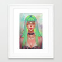 lime green Framed Art Prints featuring Lime by serafleur