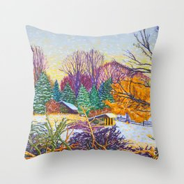 Horse Shed in Winter Throw Pillow