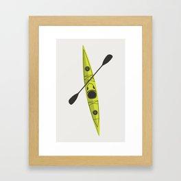 Kayak - Lime Green Framed Art Print