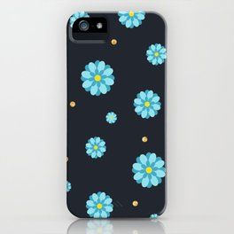 Abstract elegance and cute pattern with blue flowers and dark gray background. iPhone Case