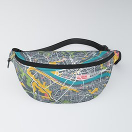 Pittsburgh City Map Abstract Colorful Vintage Maps Print Fanny Pack
