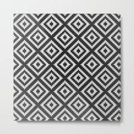 Stair Step Diamond Geometric Tribal in Black and White Metal Print