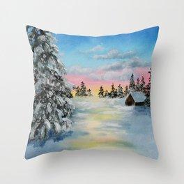 Winter Sunset Snow Scene Painting Throw Pillow