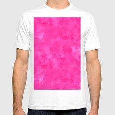 Neon pink watercolor modern bright background Mens Fitted Tee White MEDIUM