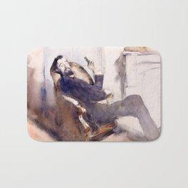 Portrait of Paul-César Helleu by John Singer Sargent - Vintage Fine Art Oil Painting Bath Mat