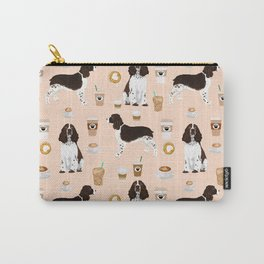 English Springer Spaniel coffee lover dog breed pet portraits custom dog gifts Carry-All Pouch