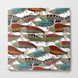 Alaskan salmon white Metal Print
