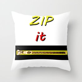 Zip it Black Yellow Red jGibney The MUSEUM Gifts Throw Pillow