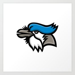 Blue Jay Head Mascot Art Print