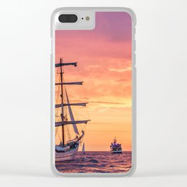 Sailing ship in sunset light Clear iPhone Case