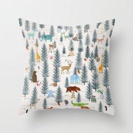 little nature woodland Throw Pillow