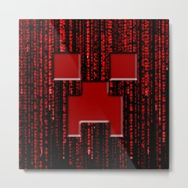 Creeper Face In Red Matrix Metal Print