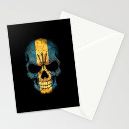 Dark Skull with Flag of Barbados Stationery Cards