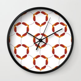 Red Japanese Maple Tree Samara Rounded Hex Pattern Wall Clock