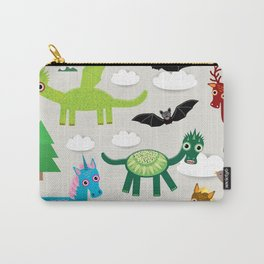 magic pattern with funny dragon bats unicorn horse deer bird wolf. illustration Carry-All Pouch