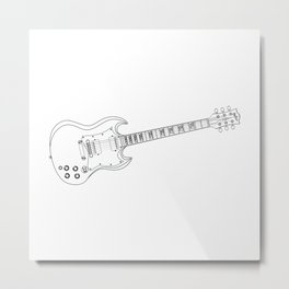 Solid Guitar Line Drawing Metal Print