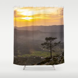 A lonely pine tree in the mountain Shower Curtain