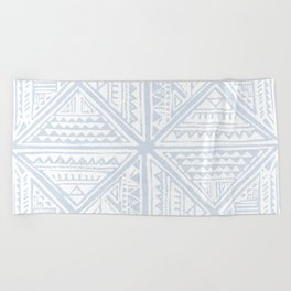 Simply Tribal Tile in Sky Blue on Lunar Gray Beach Towel