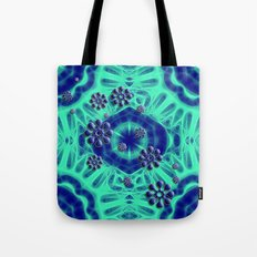 Popping flowers in trippy blue Tote Bag