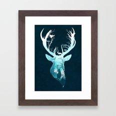 Deer Blue Winter Framed Art Print