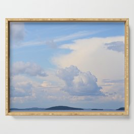 Blue Lakescape With White Clouds In The Blue Sky #decor #society6 Serving Tray