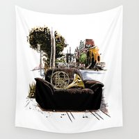 montreal Wall Tapestries featuring Chairs of Montreal by Salgood Sam