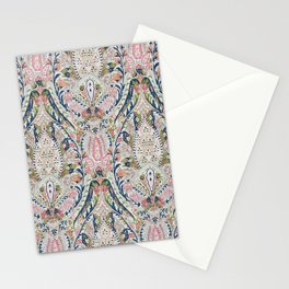 Pink Blue Green Leaf Flower Paisley Stationery Cards