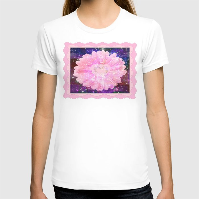 Pink flower with sparkles  T-shirt