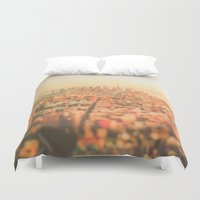 new york city Duvet Covers featuring New York City Sunset by Vivienne Gucwa