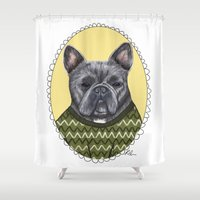 french bulldog Shower Curtains featuring French Bulldog by Rhian Davie