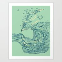 huebucket Art Prints featuring Ocean Breath by Huebucket