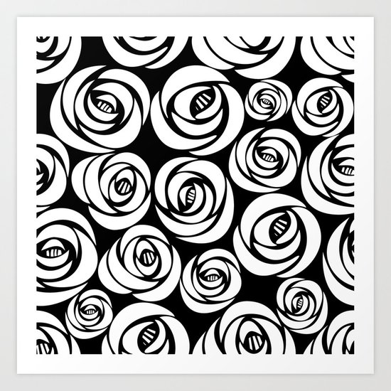 black background with white flowers Art Print