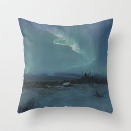 Northern Lights - Aurora Borealis Winter Scene by Sydney Lawrence Throw Pillow