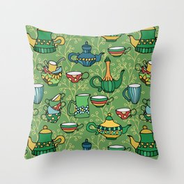 Tea green pattern Throw Pillow