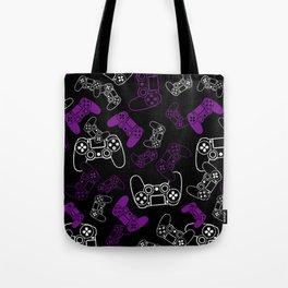 Video Games Purple on Black Tote Bag