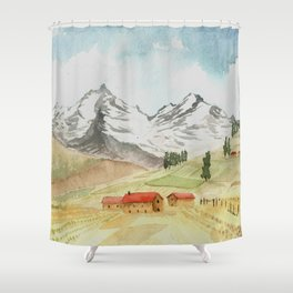 A Highland Village Shower Curtain