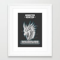 monster hunter Framed Art Prints featuring Monster Hunter All Stars - The Dondruma Hurricanes by Bleached ink
