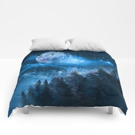 Night forest Comforters
