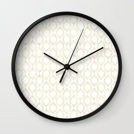 White And Gold Moroccan Chic Pattern Wall Clock