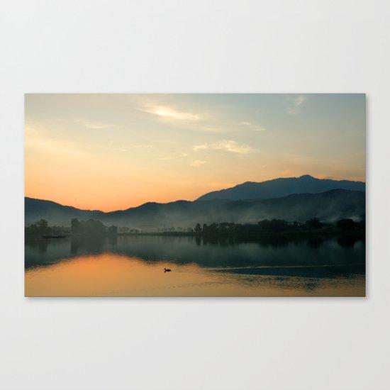 The Lake at Sunset, Kyoto Japan Canvas Print