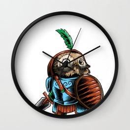 Knight Owl Warrior Cavalier Rider Noble Sword Gift Wall Clock