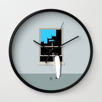 happiness Wall Clocks featuring Happiness by Inksider