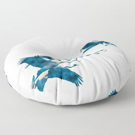 Beautiful Cranes in white background Floor Pillow