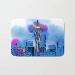 The Space Needle In Soft Abstract Bath Mat