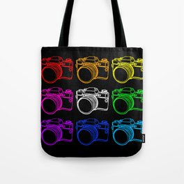 White on Black Camera Tote Bag
