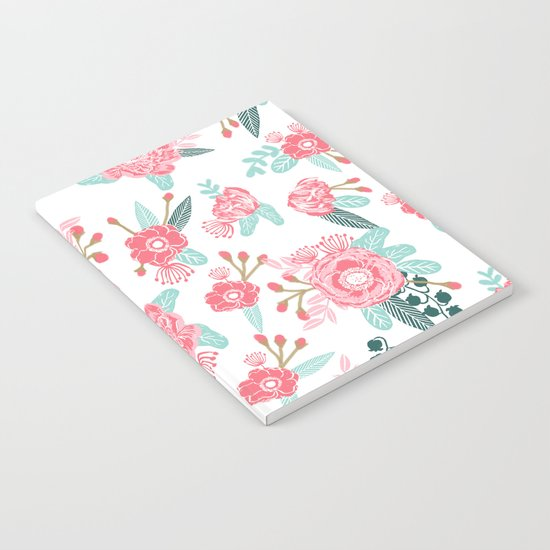 Peony florals basic girly trendy floral bouquet white fresh colors modern botanicals Notebook