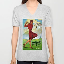 Vintage Villars Switzerland Golf Travel Poster Unisex V-Neck