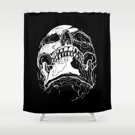 Carnibal / Ink Skull / White Shower Curtain