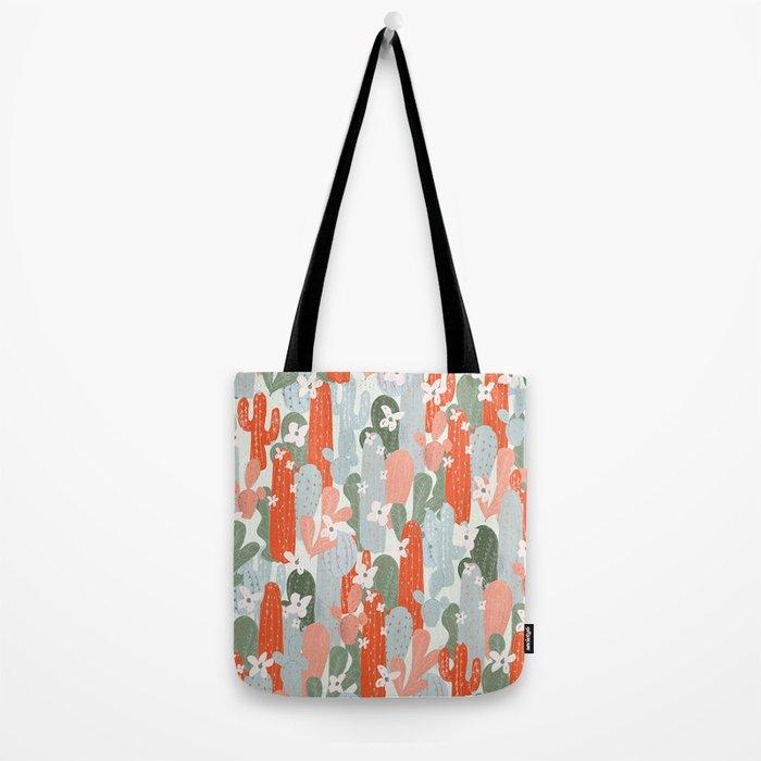 Floral Cactus Tote Bag
